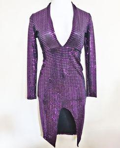 V Neck long sleeve sparkling dress